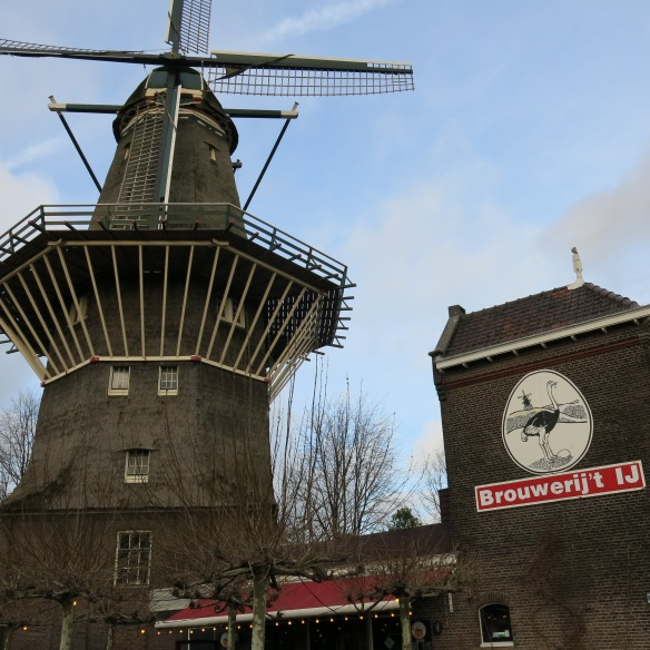 Brouwerij 't IJ in a former bathhouse beneath Amsterdam's tallest windmill.